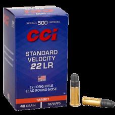 MUNIÇÃO CCI CAL .22 LR STD VELOCITY 40GR LRN HS CX 50